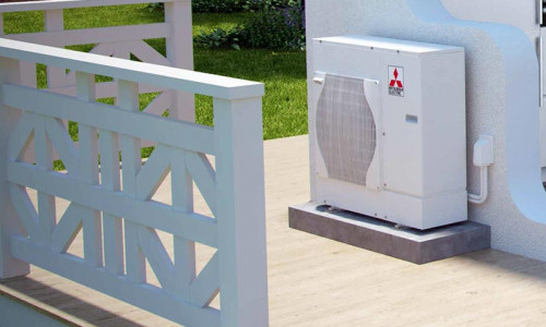 Ecodan unit installed on an outdoor terrace