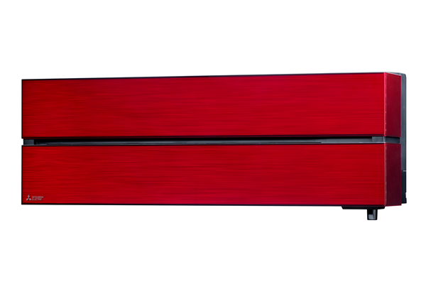 Indoor wall mounted air conditioning unit in red