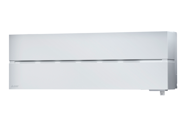 Wide air conditioner for wall installation, in white