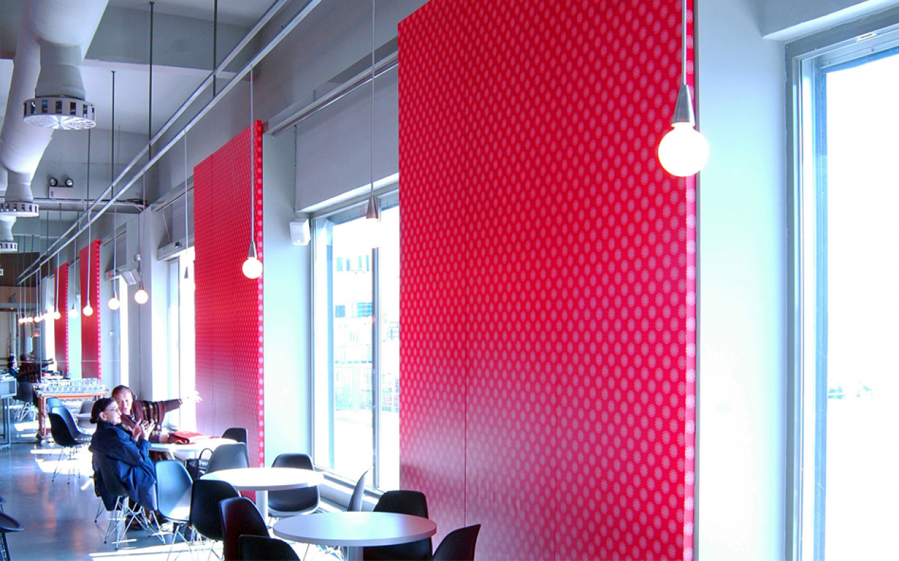 Cafe with red walls