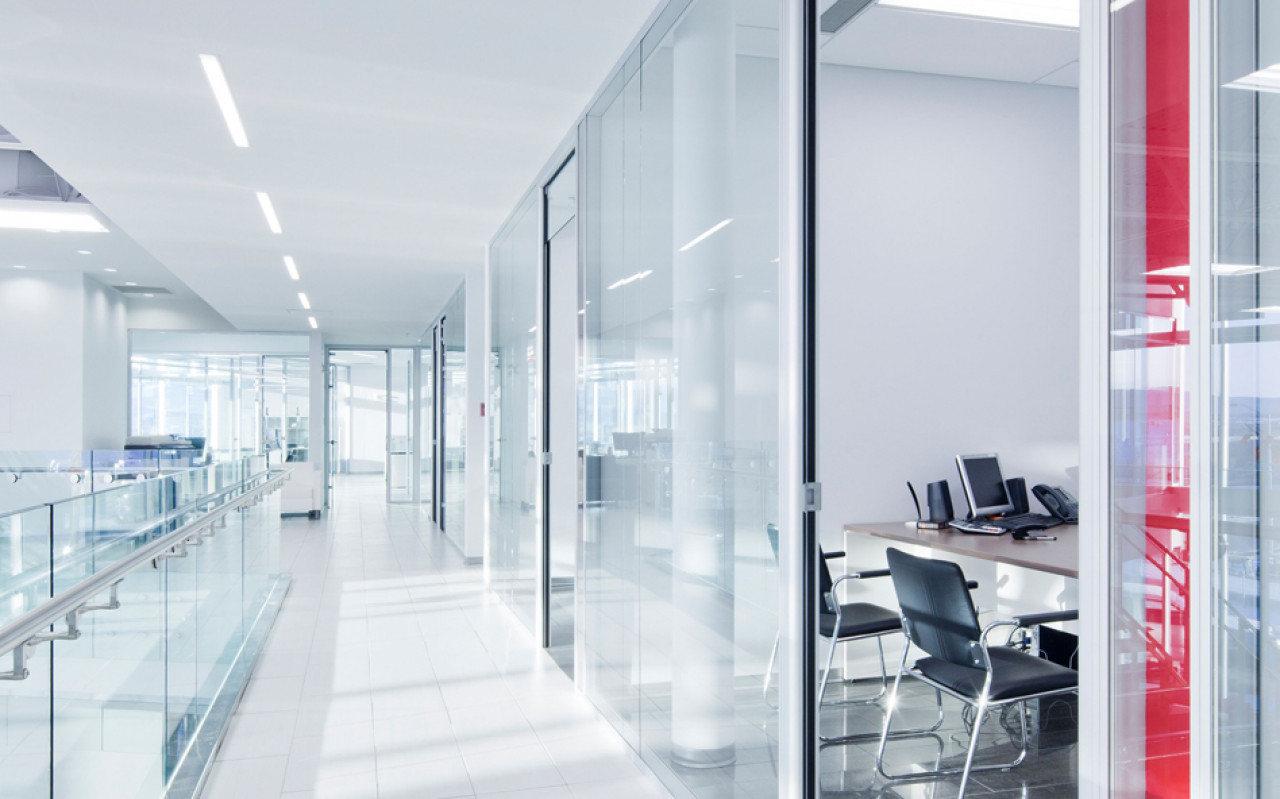 Minimal office and corridor